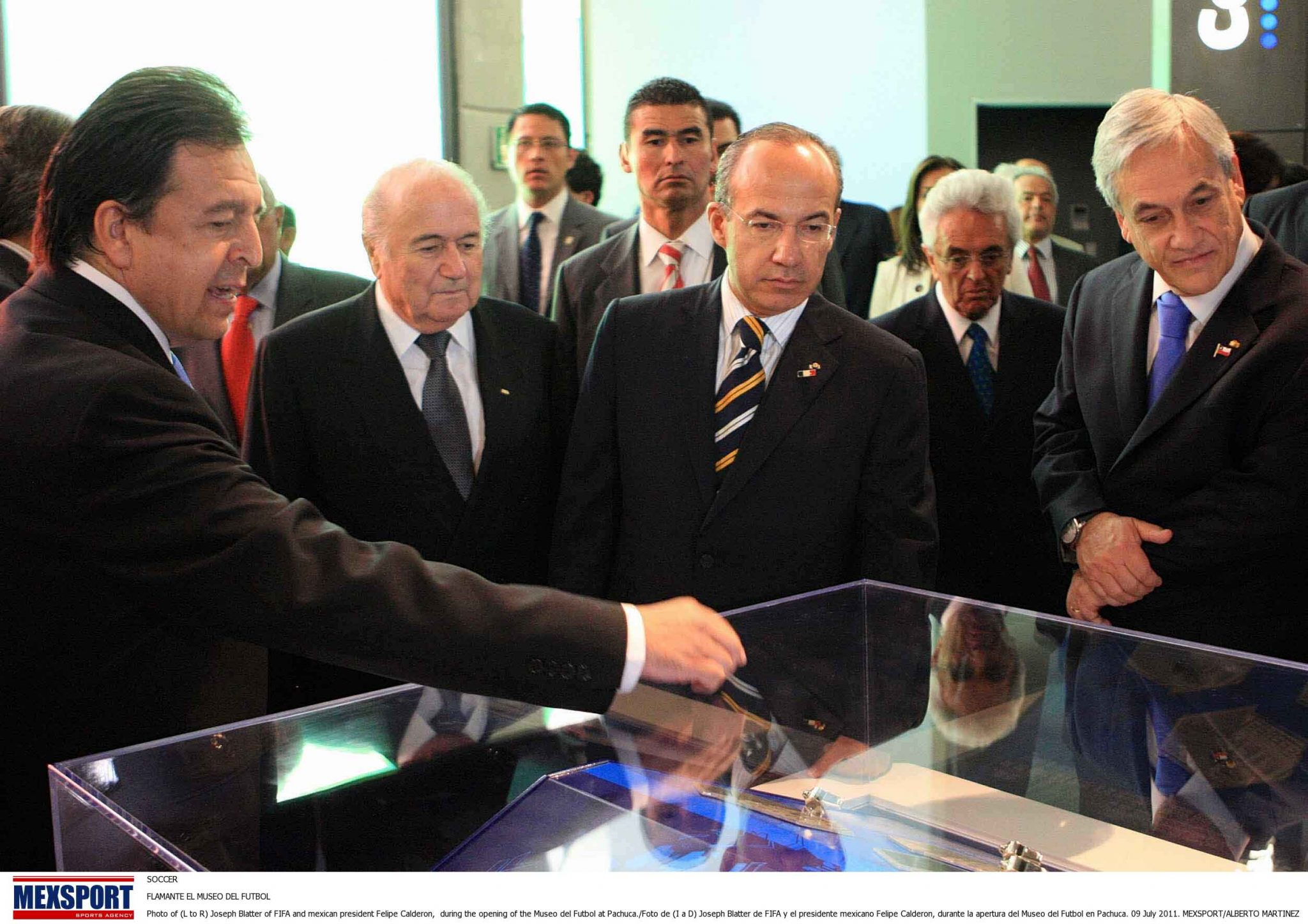 SOCCER  FLAMANTE EL MUSEO DEL FUTBOL  Photo of (L to R) Joseph Blatter of FIFA and mexican president Felipe Calderon,  during the opening of the Museo del Futbol at Pachuca./Foto de (I a D) Joseph Blatter de FIFA y el presidente mexicano Felipe Calderon, durante la apertura del Museo del Futbol en Pachuca. 09 July 2011. MEXSPORT/ALBERTO MARTINEZ
